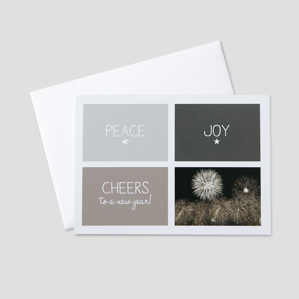 Client New Year greeting card with peace, joy and cheers to the new year on the front in boxed neutral colors