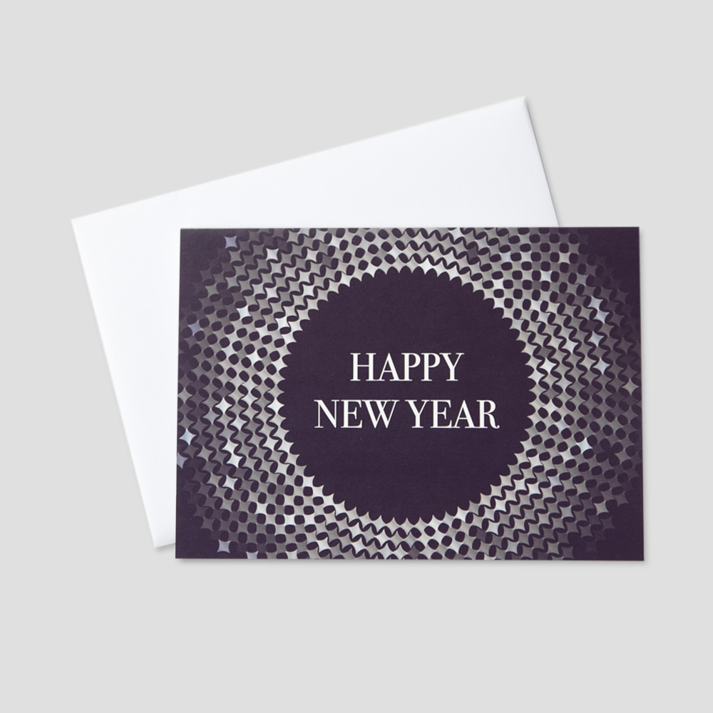 Professional New Year greeting card featuring happy new year surrounded by twinkling shapes on a navy blue background