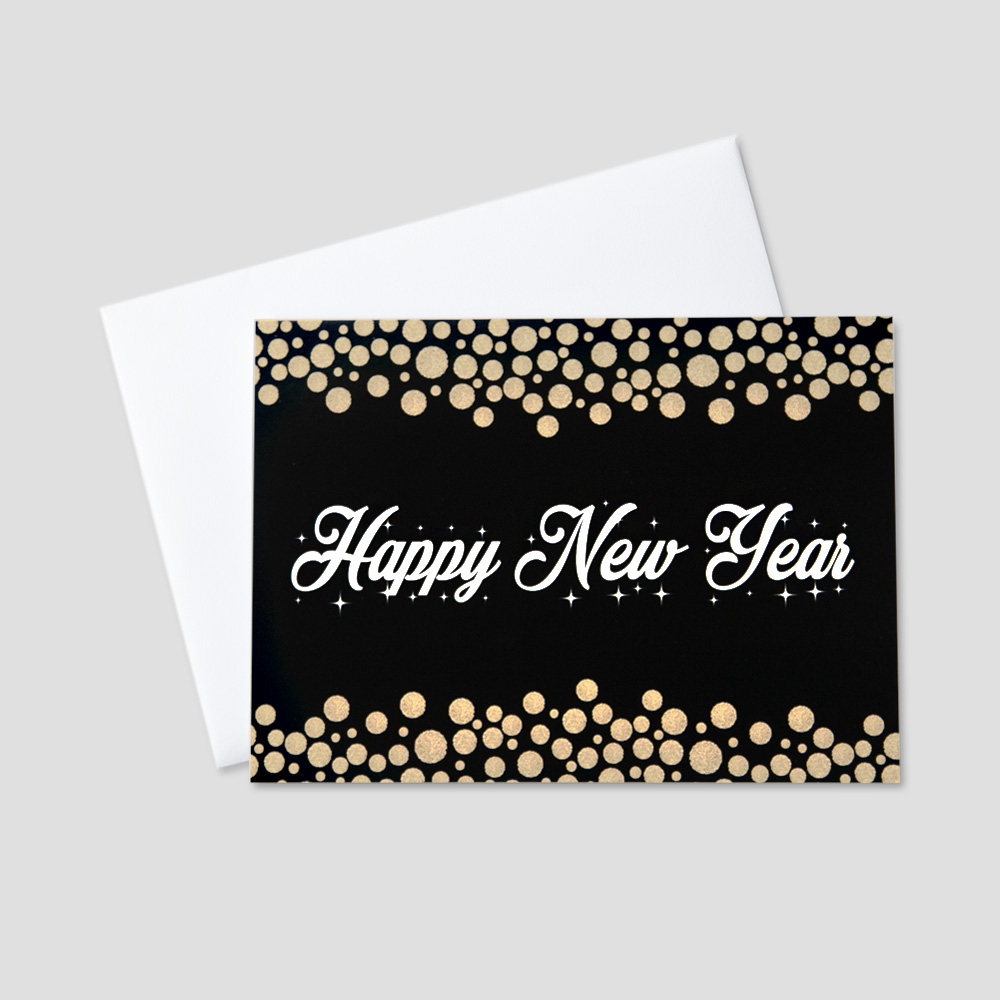 company new year greeting card with happy new year on a black background surrounded by falling