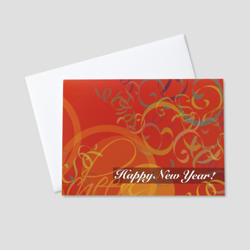 Business New Year greeting card featuring an orange background and falling colorful confetti with a new year message