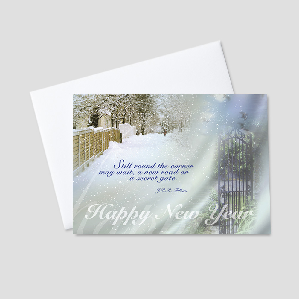 Professional New Year greeting card featuring a snowy winter scene and an inspirational new year quote from Tolkien