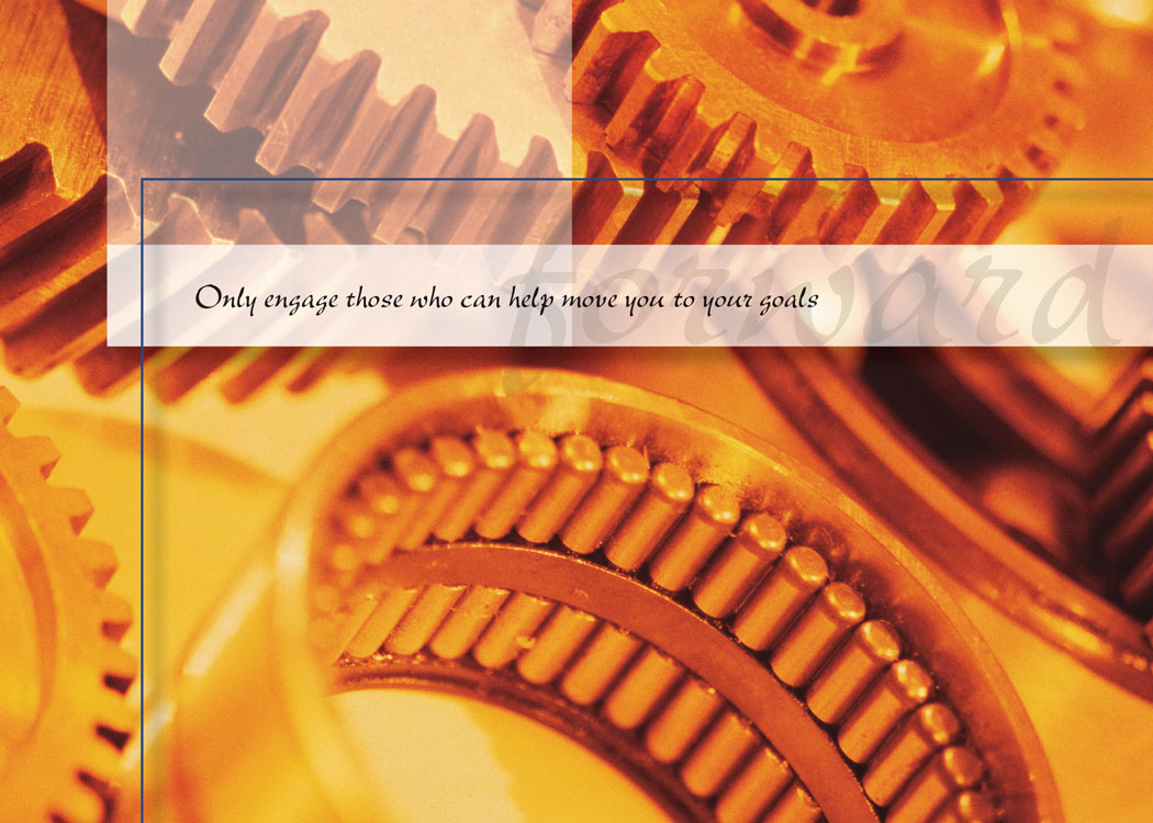 Business Prospecting greeting card with an image of moving gears and a message focused on reaching company goals