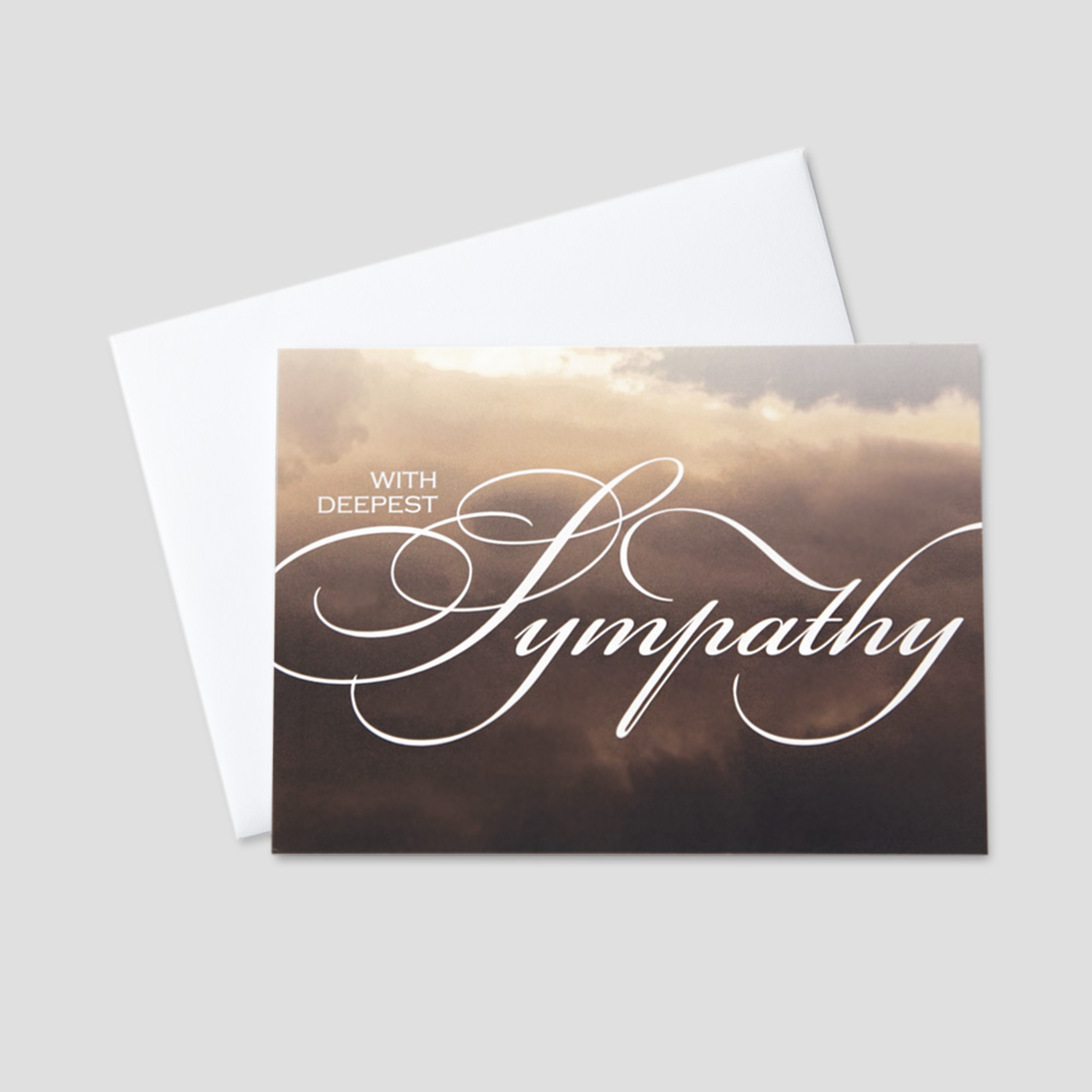 Professional Sympathy greeting card with deepest sympathy written on a soft lit sky background