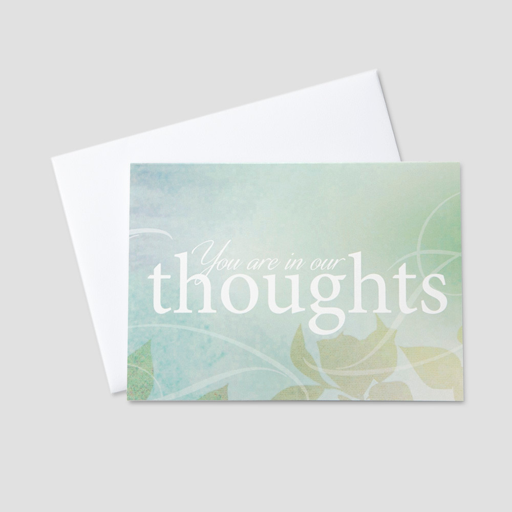 Company Sympathy greeting card featuring you are in our thoughts on a graphic leaf and swirl design green and blue background