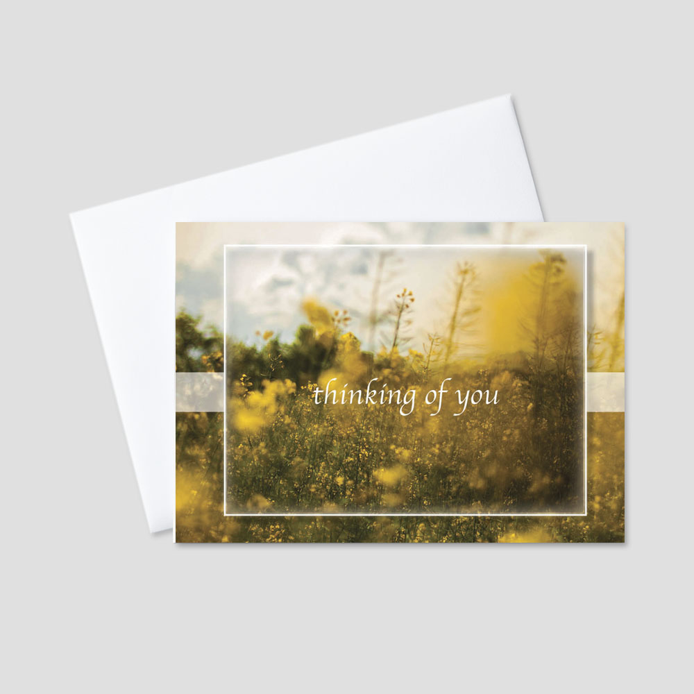 Corporate Sympathy greeting card featuring a sunny field of wheat and flowers and a thinking of you message