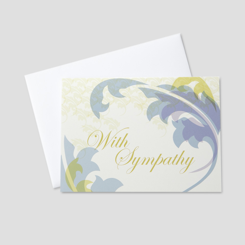 Customer Sympathy greeting card featuring with sympathy surrounded by colorful leaves on a cream colored background