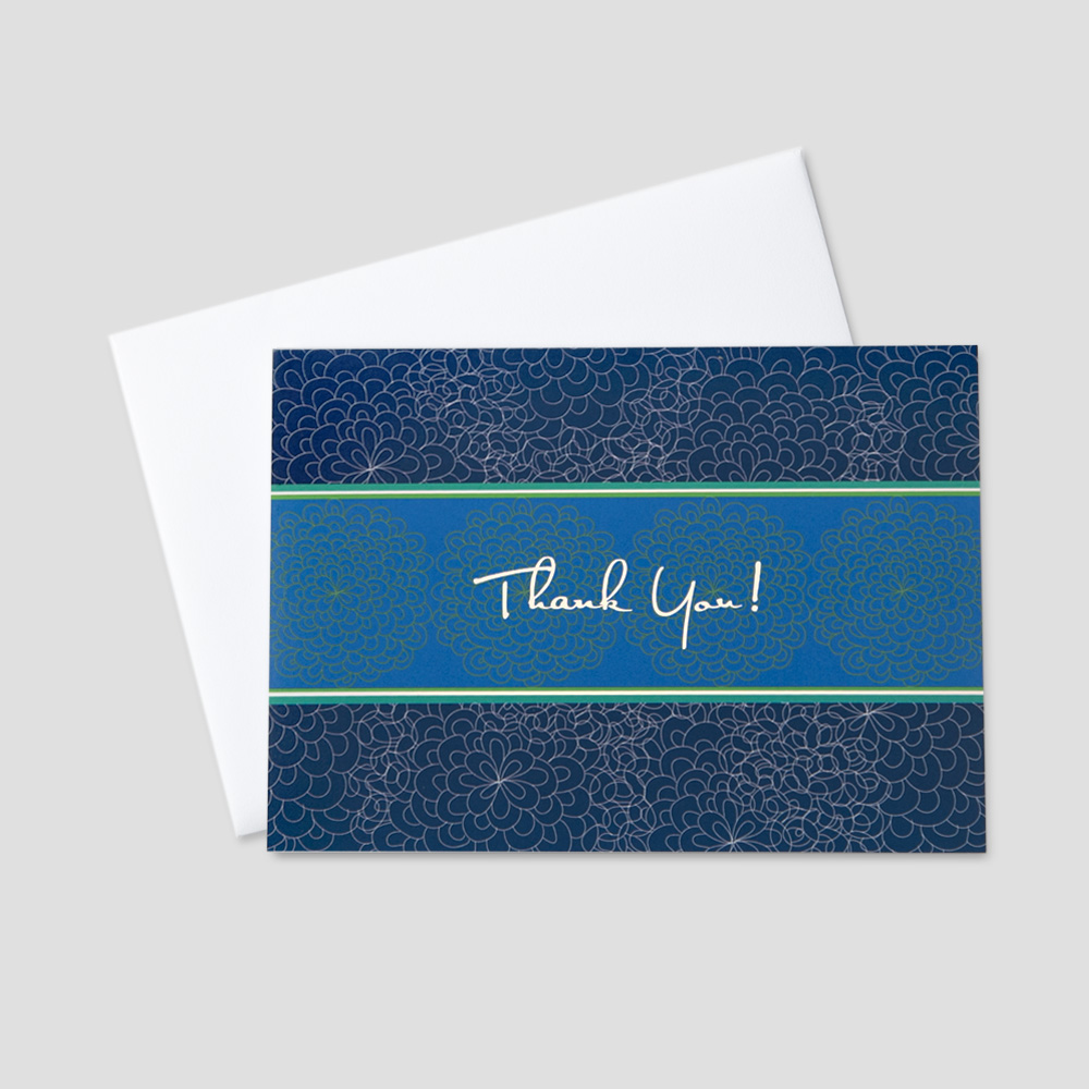 Business Thank You greeting card featuring a thank you message among a white sketched floral and blue background