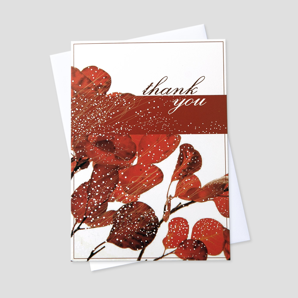 Company Thank You greeting card featuring red flowers and white dot details with a thank you message