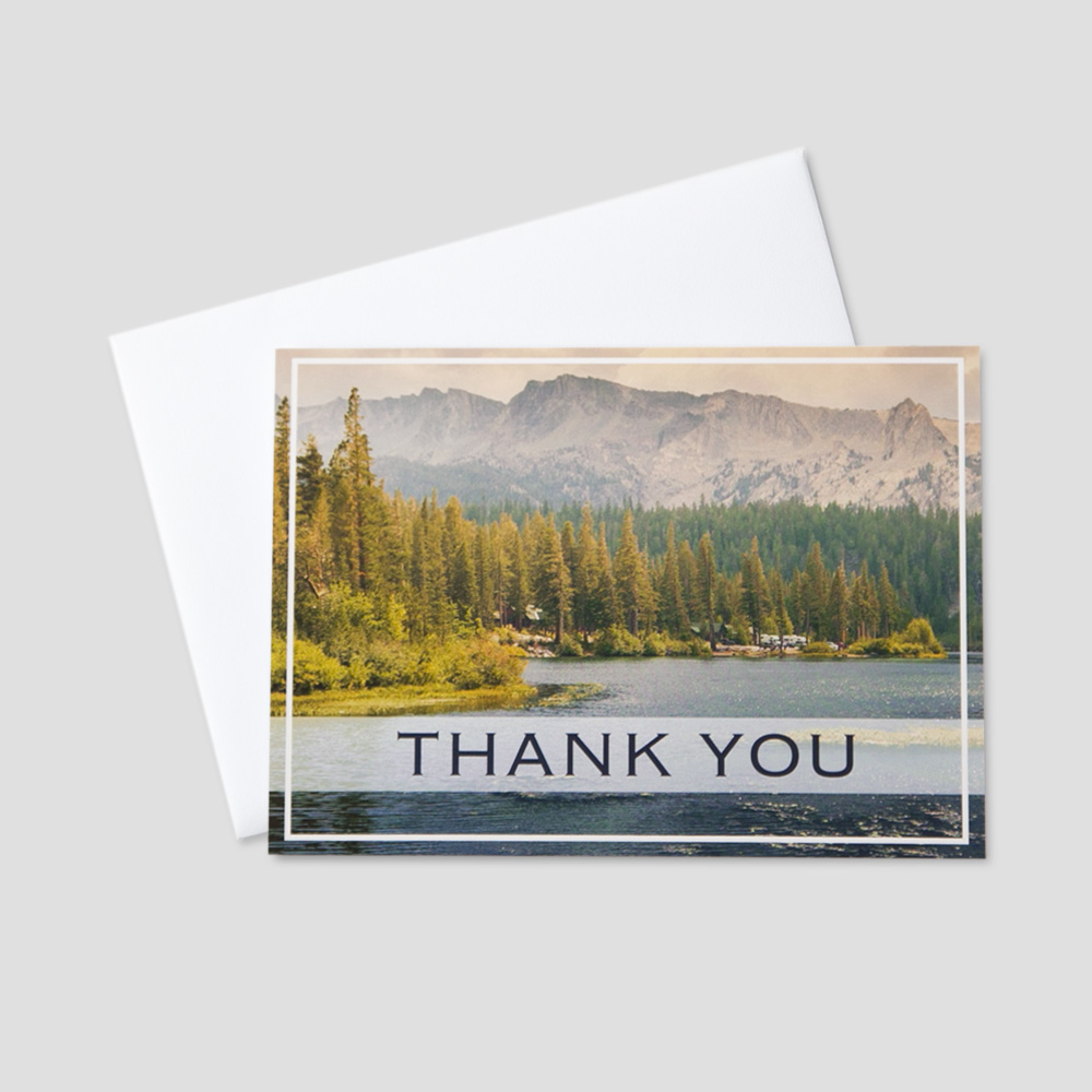 Company Thank You greeting card featuring a magnificent mountain scene and a thank you message