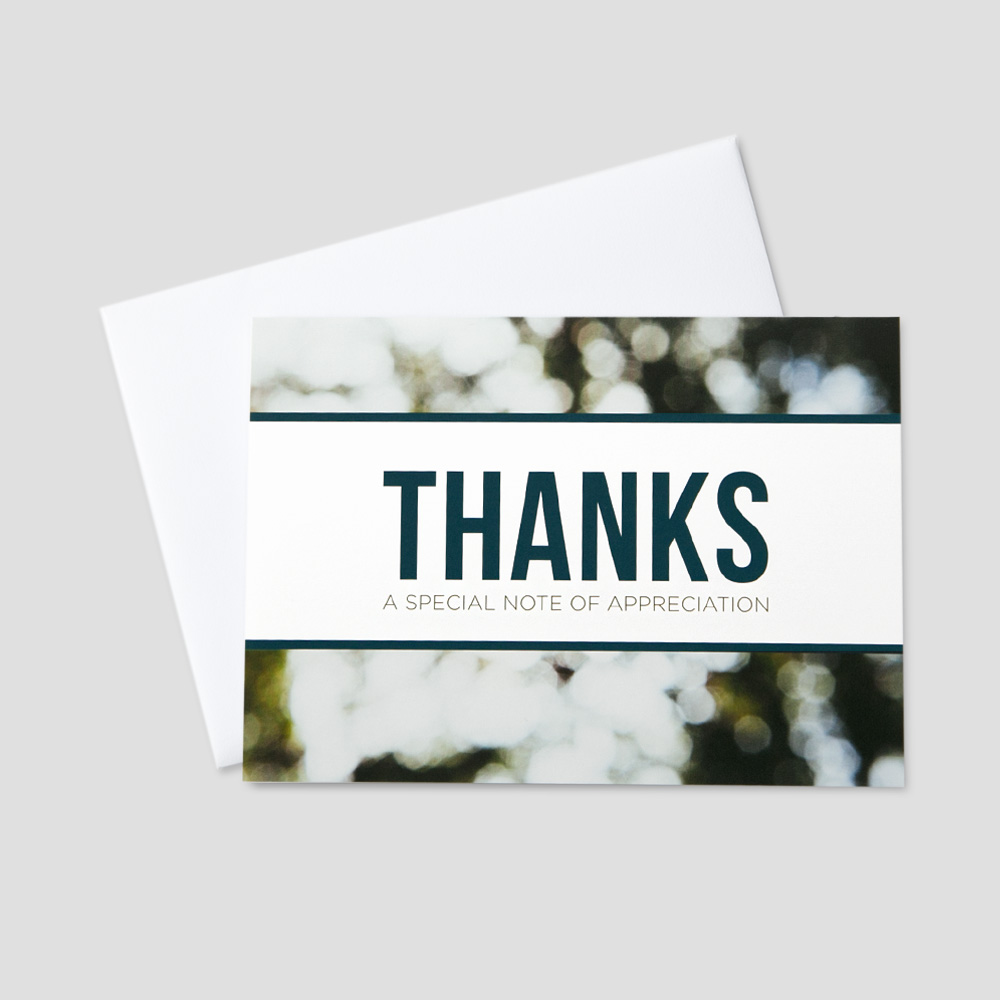Customer Thank You greeting card featuring a special note of appreciation on a nature scene background