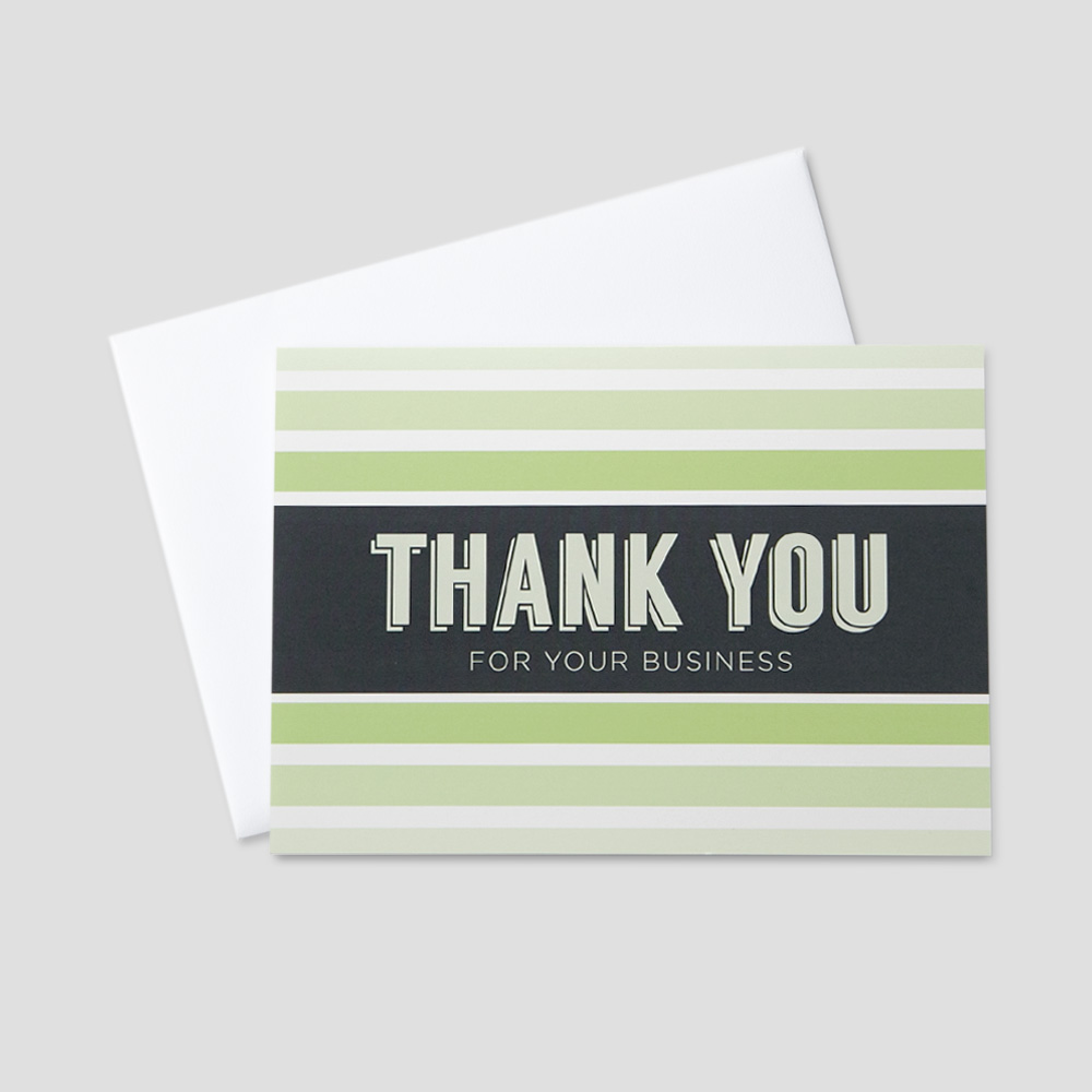 Client Thank You greeting card featuring a business thank you message within a green stripe background