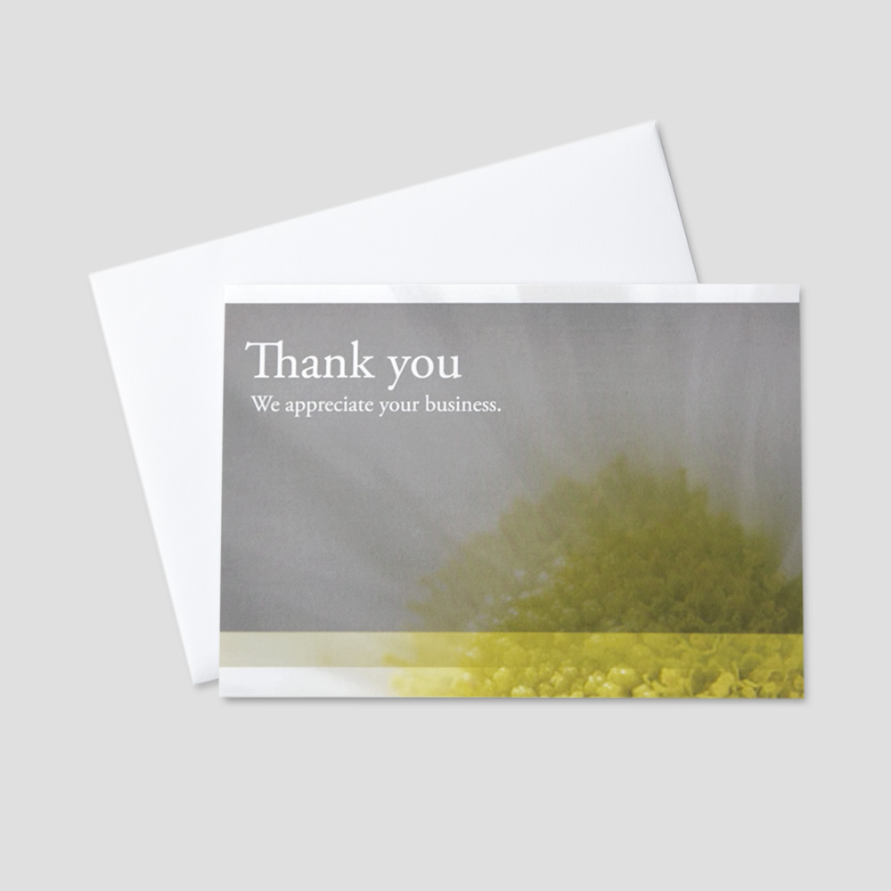 Business Thank You greeting card featuring a thank you message within a daisy gray and white background