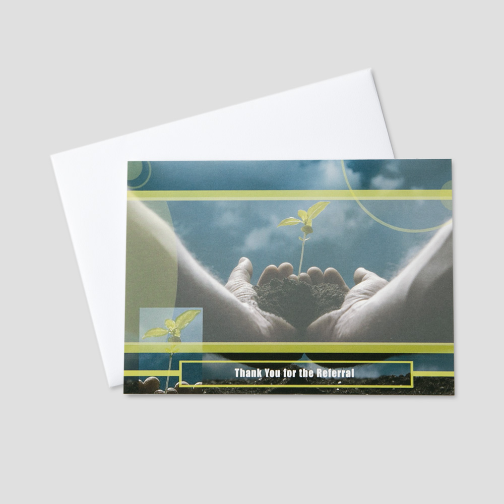 Client Thank You greeting card featuring hands holding a budding plant and referral thank you message