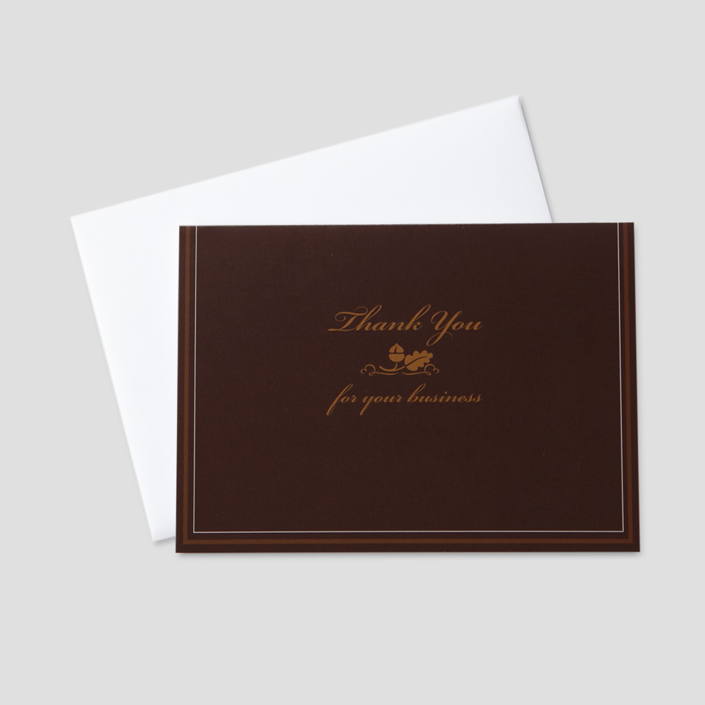 Professional Thank You greeting card featuring an acorn and leaf on a brown background with a thank you message