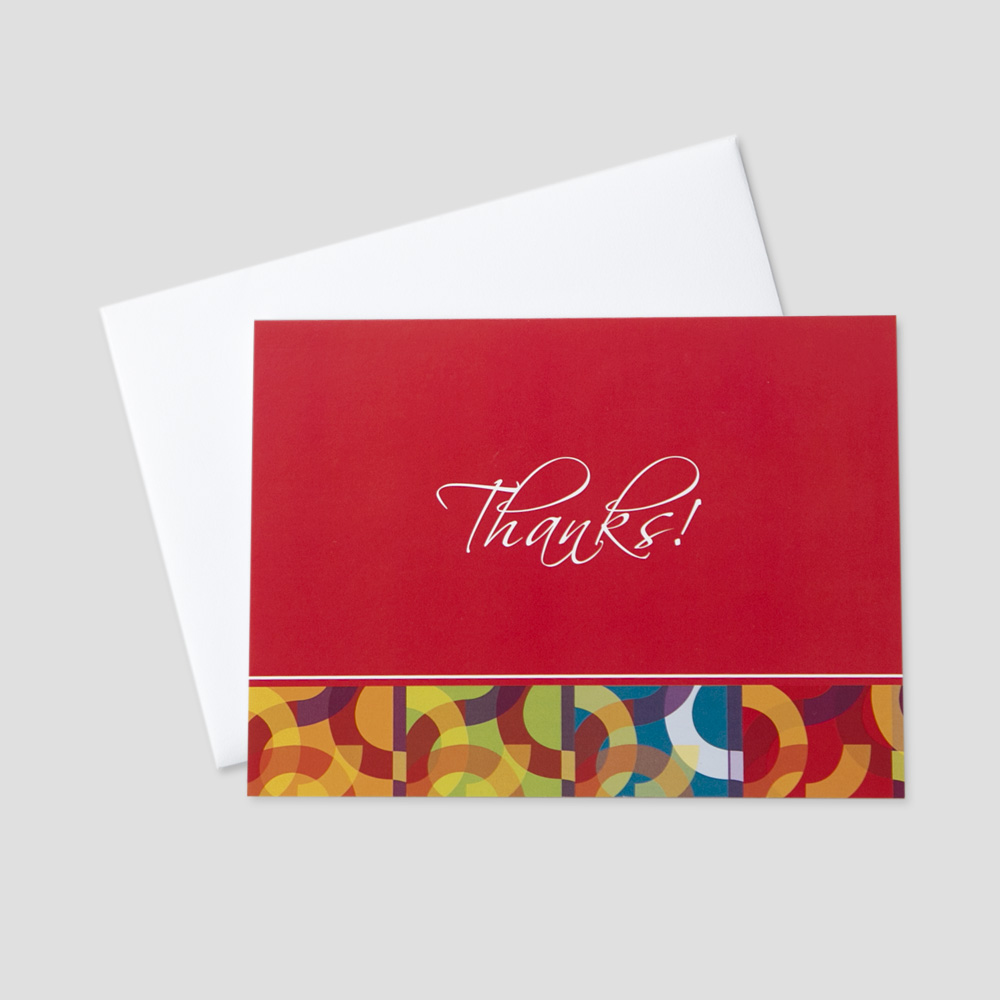 Business Thank You greeting card featuring colorful and graphic circle designs and a message of thanks