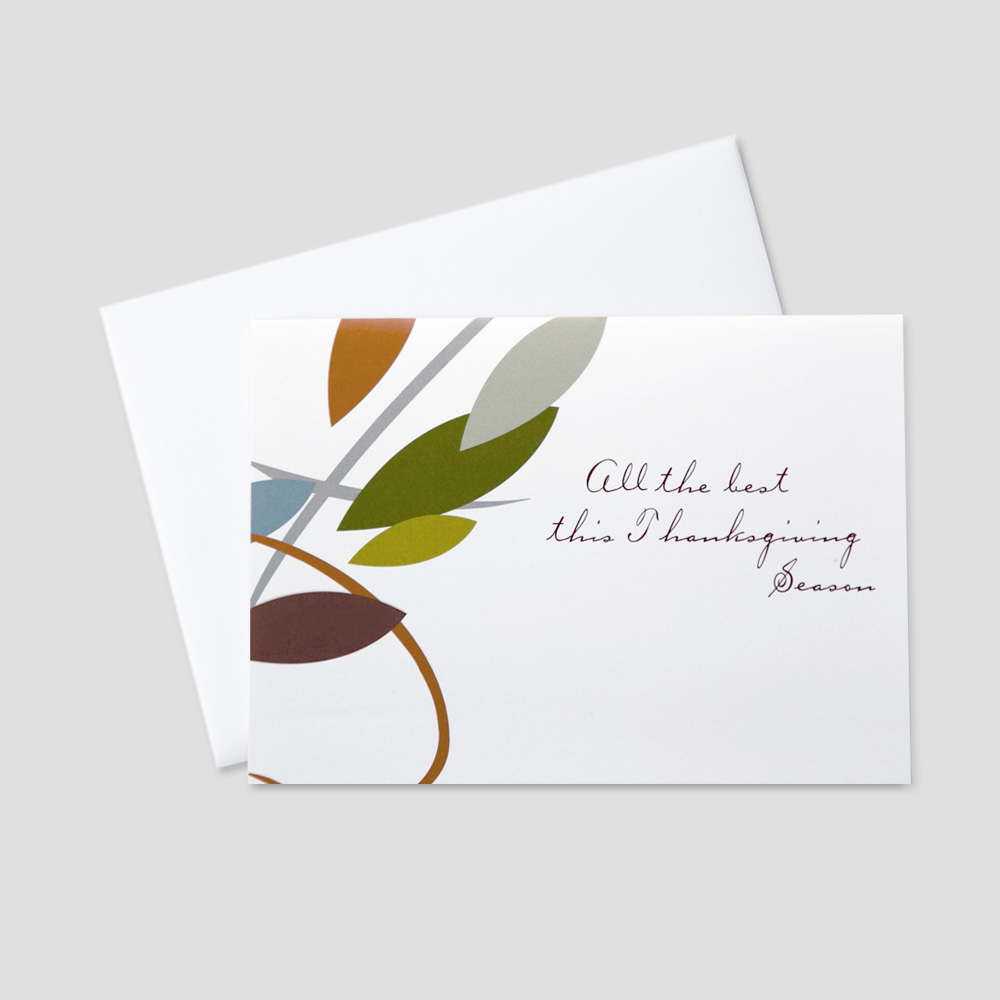 Company Thanksgiving greeting card featuring abstract drawn leaves and a Thanksgiving message on a white background