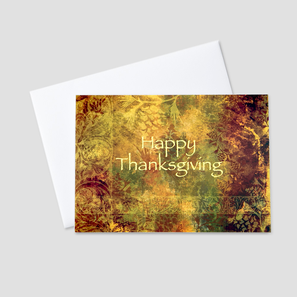 Corporate Thanksgiving greeting card with a fall color pallet background and Happy Thanksgiving written in an amber color