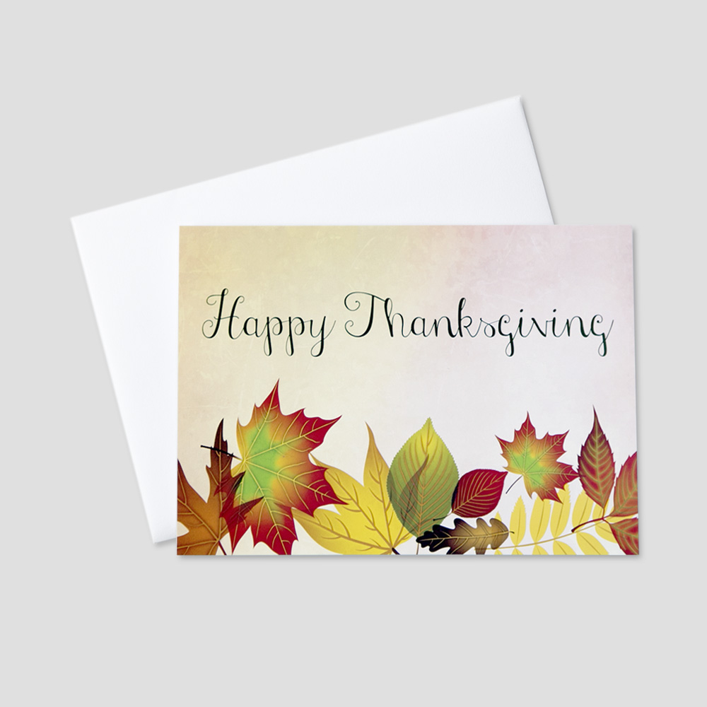 Corporate Thanksgiving greeting card featuring colorful autumn leaves on a watercolor background