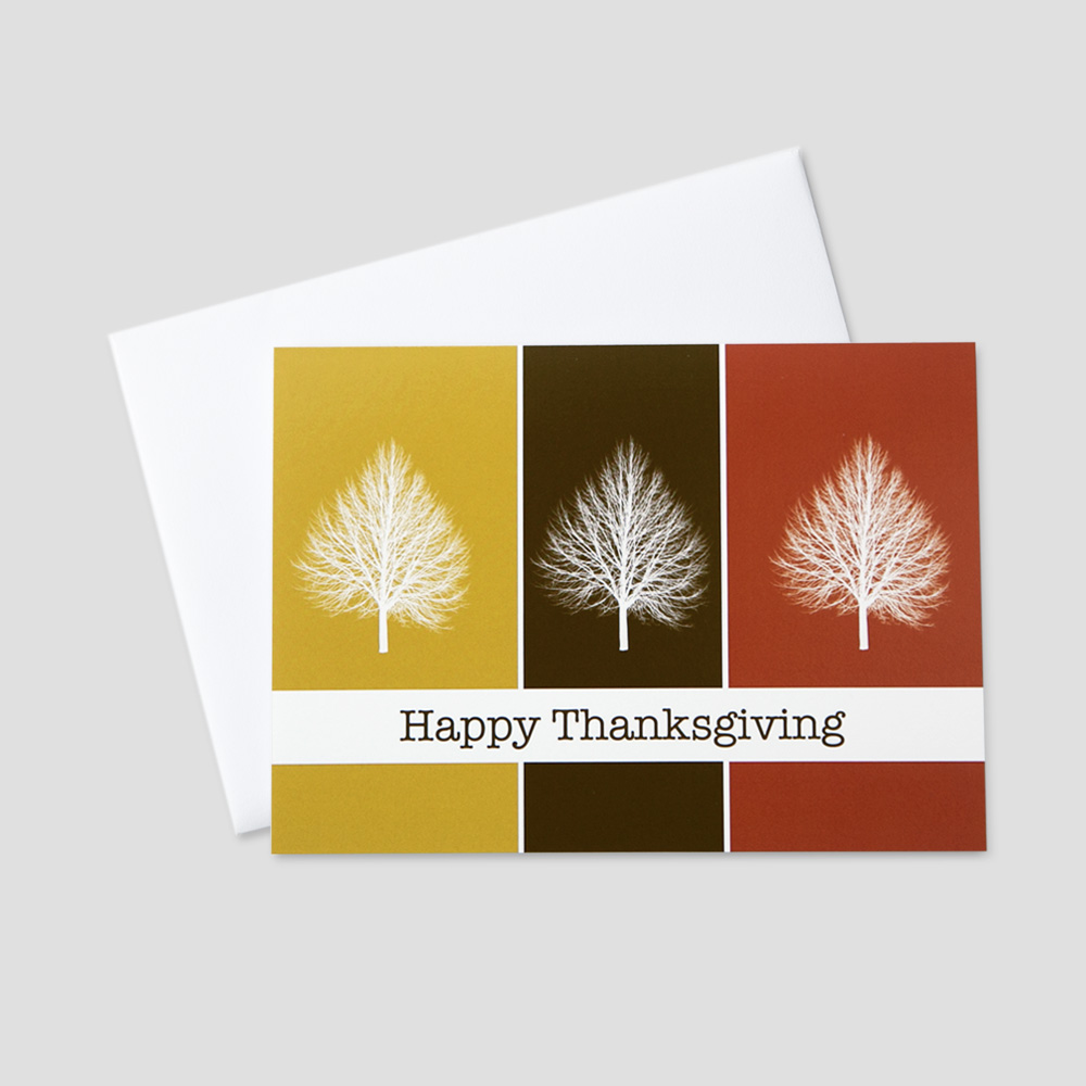 Professional Thanksgiving greeting card featuring autumn colors and fall trees in vertical panels of color