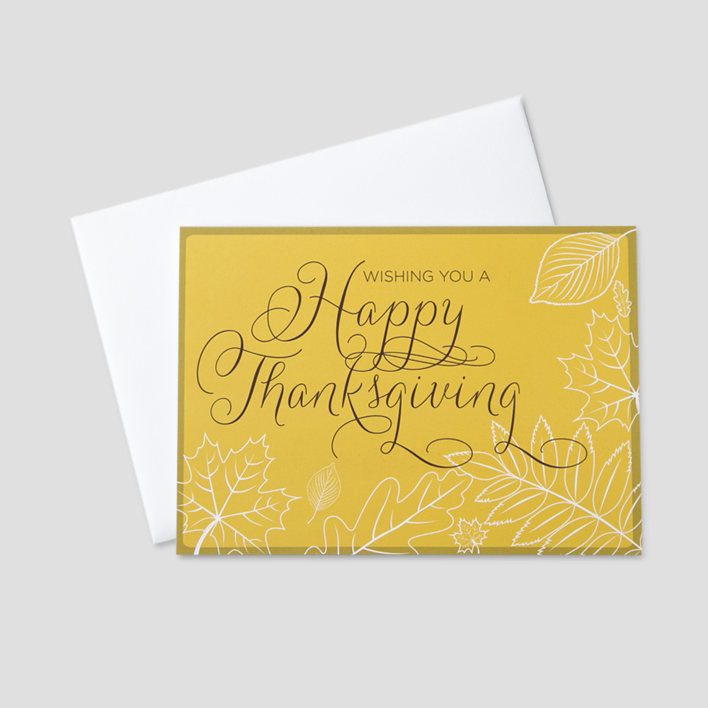 Employee Thanksgiving greeting card with a sketched outline of leaves and happy thanksgiving on an amber colored background