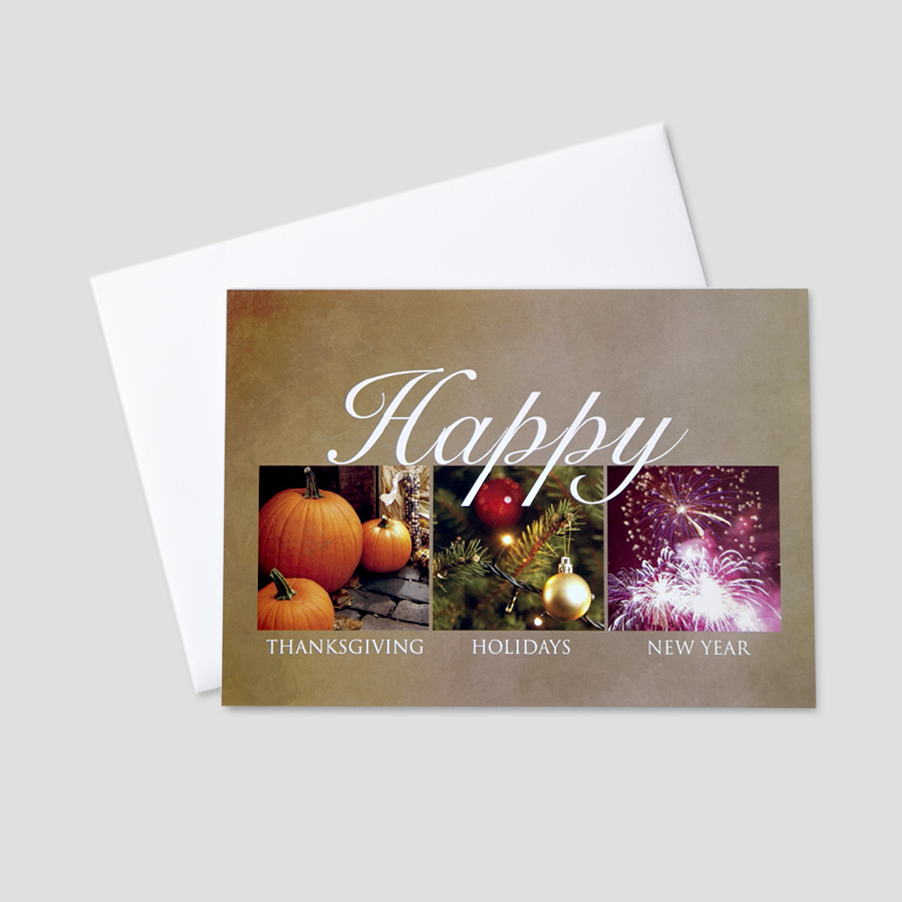 Corporate Thanksgiving greeting card featuring images and messages to represent the entire holiday season