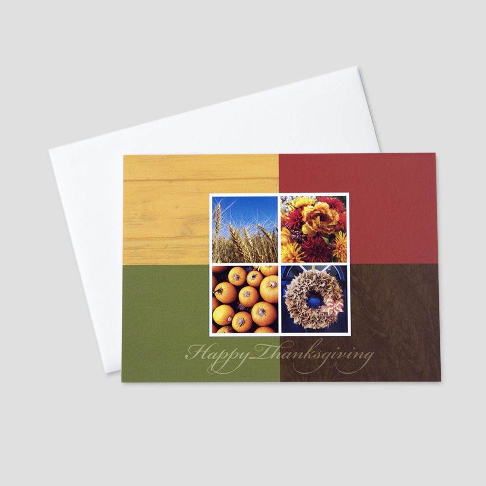 Customer Thanksgiving greeting card featuring multiple autumn themed images on an autumn color blocked background