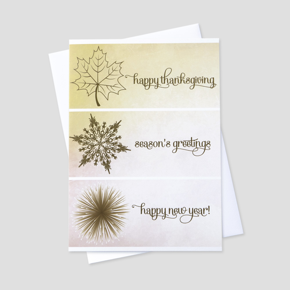 Professional Thanksgiving greeting card featuring messages and images for the entire holiday season on a light watercolor background