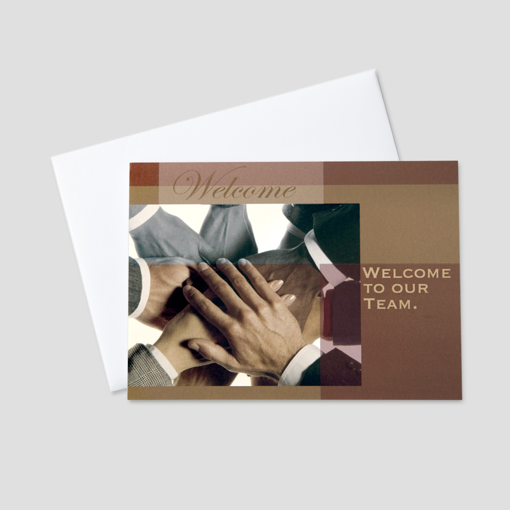 Business Welcome greeting card featuring many hands symbolizing teamwork and a welcome message
