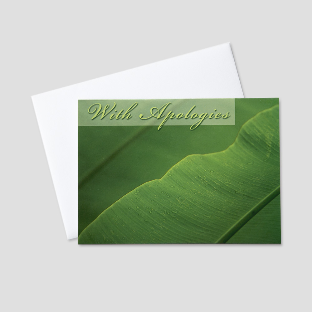 Business Apology greeting card featuring with apologies on a green leaf background