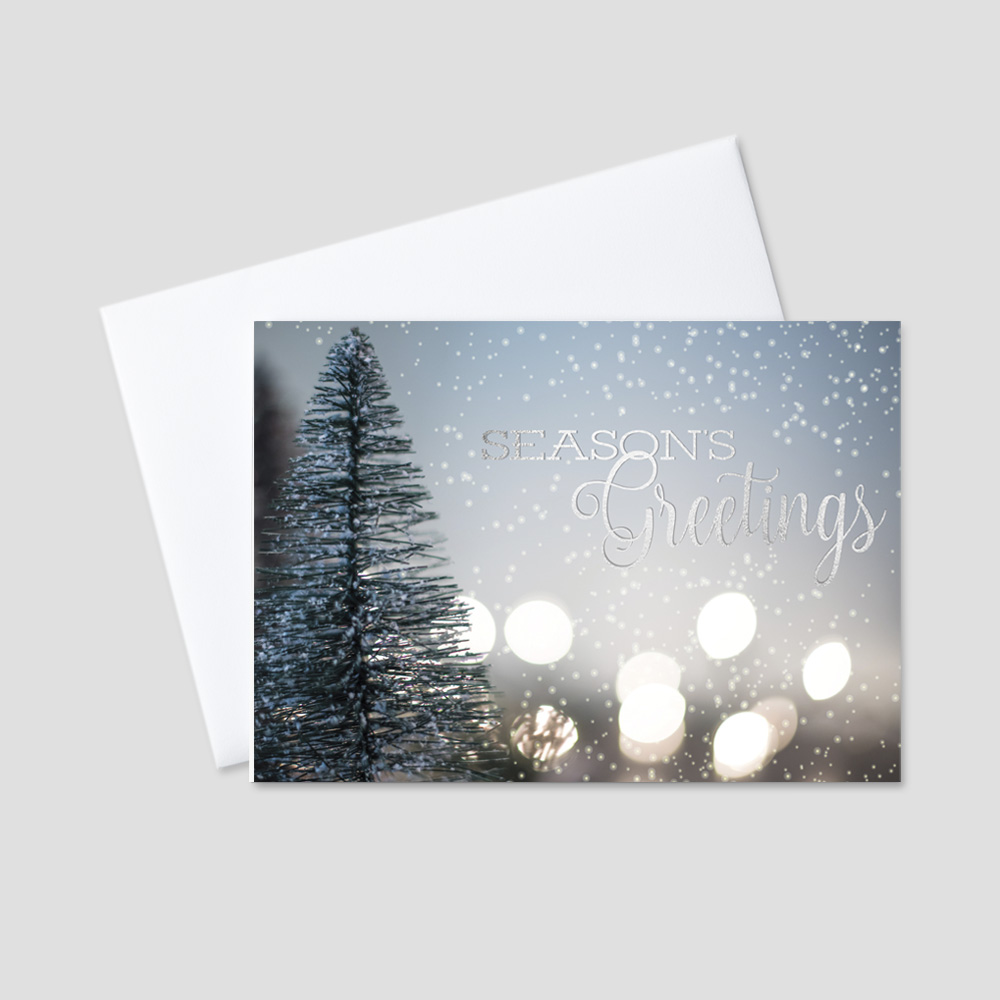 Business Holiday greeting card featuring an outdoor winter scene and Season's Greetings message in silver foil print