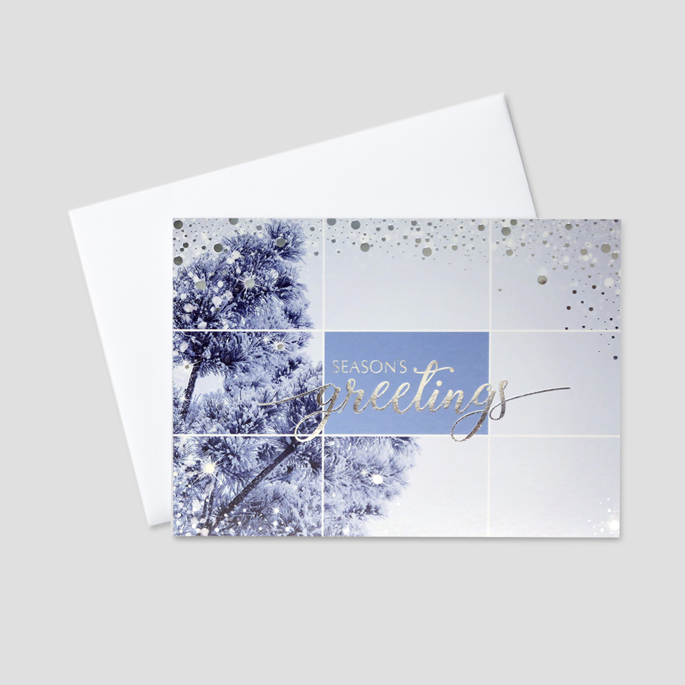 Company Holiday greeting card featuring a Season's Greetings message in silver foil print amidst a snowy, shimmering silver foil background