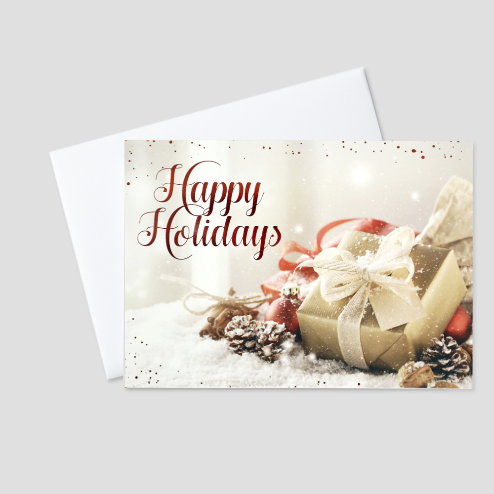 Employee Holiday greeting card featuring elements of holiday décor including a red foil printed bow and a Happy Holidays message in red foil print