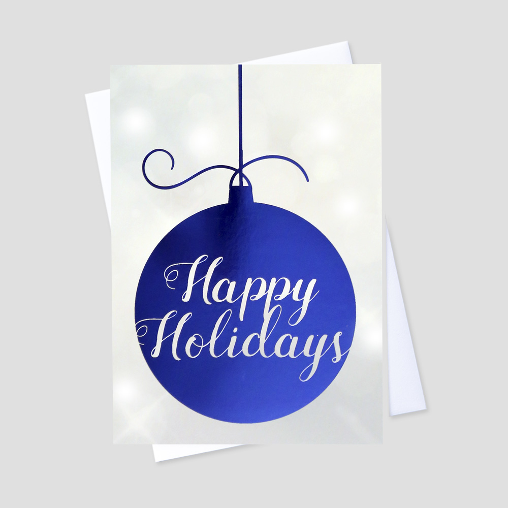 Employee Holiday greeting card featuring a hanging ornament adorned in blue foil and a contrasting bubbly gray background with a Happy Holidays message