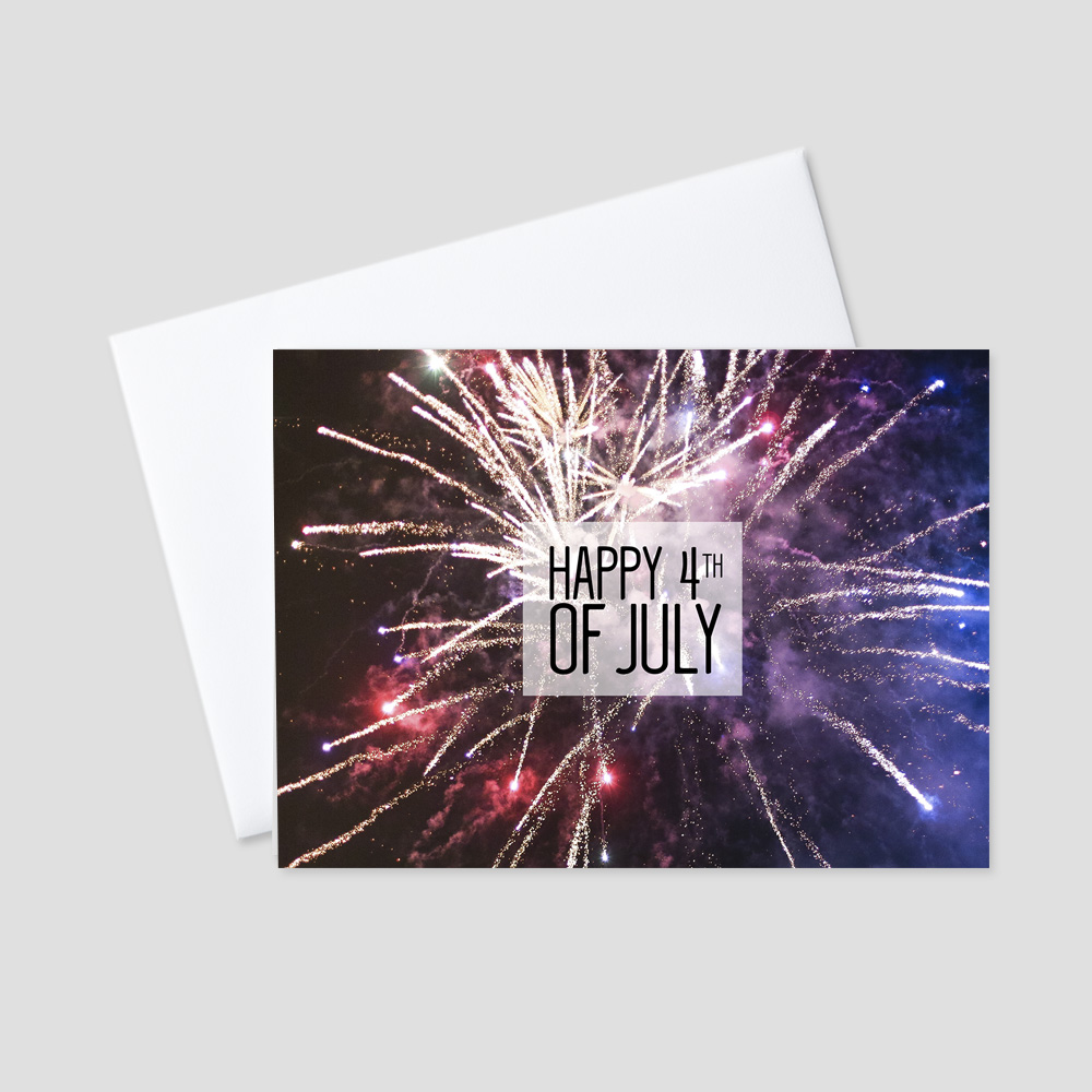 Business July Fourth greeting card featuring red, white, and blue fireworks on a dark night background and a Happy 4th of July message.