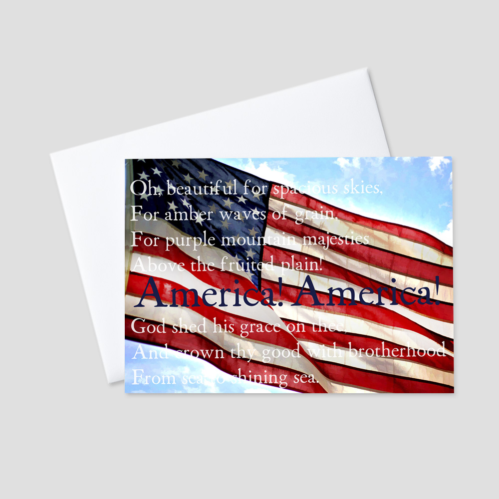 Company July Fourth greeting card with an American Flag waving in the breeze in the clear blue sky surrounded by America the Beautiful lyrics.