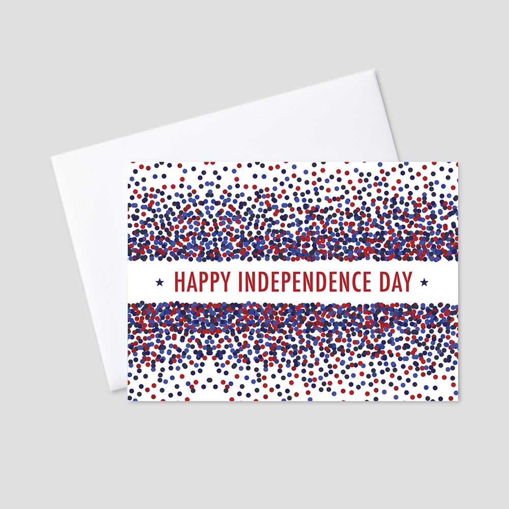 Corporate July Fourth greeting card with a Happy Independence Day message surrounded by red, white, and blue dots on a crisp white background.