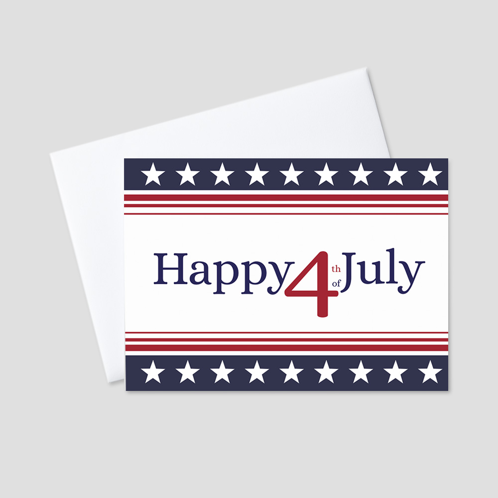 Professional July Fourth greeting card featuring a white background with a Happy 4th of July message in red surrounded by red and blue stripes and white stars.
