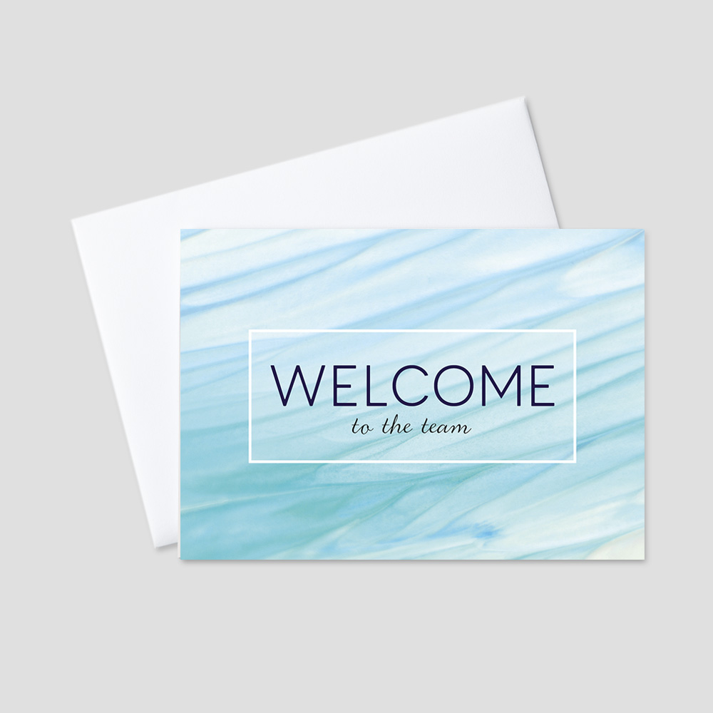 Business Welcome greeting card with a sea foam and light blue calming  oceanic background and a welcome to the team message surrounded by a black border