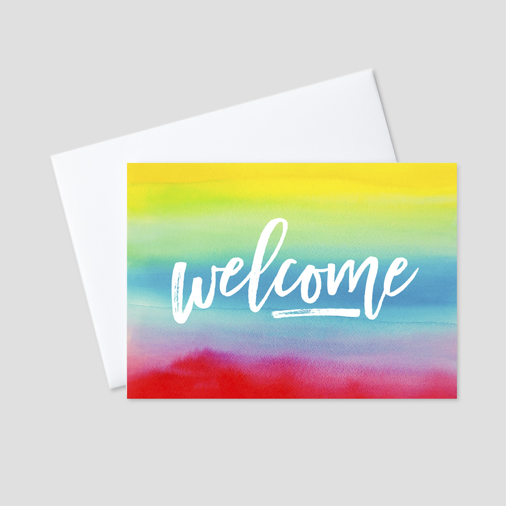 Company Welcome greeting card featuring the beautiful colors of the rainbow with a watercolor art design and a welcome message in a brushed art script to match the background