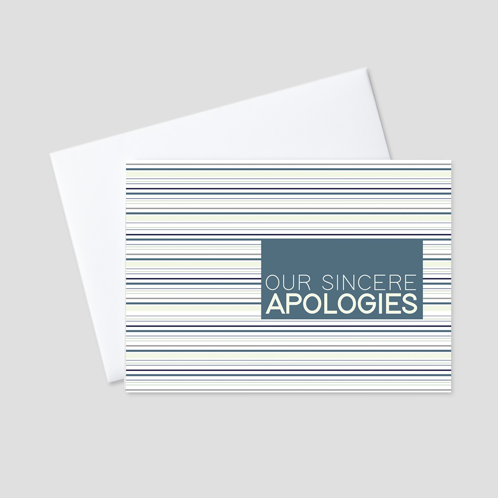 Business Apology greeting card featuring subtle stripes of teal, green, and brown colors and a sincere apologies message with a teal background