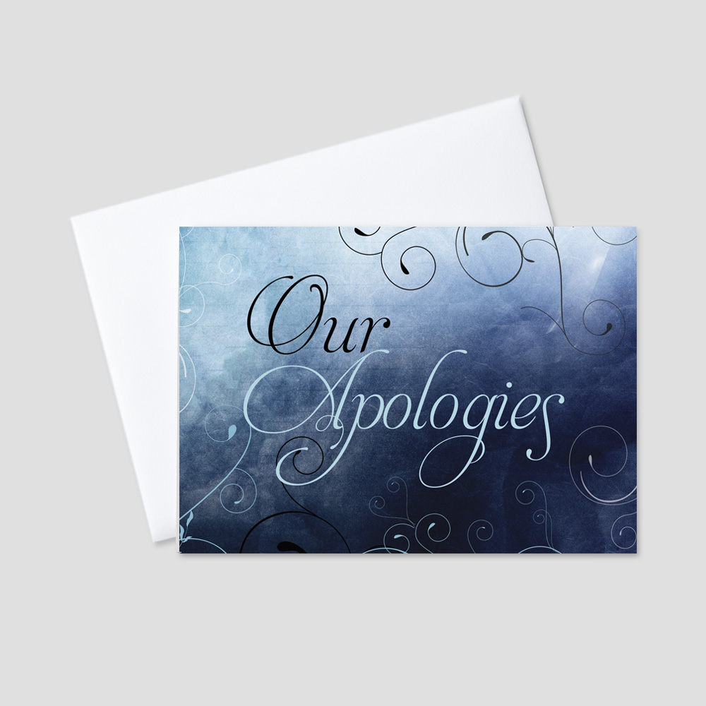 Company Apology greeting card featuring a dark blue navy and black background and light blue apologies message surrounded by dark blue swirls and leaves