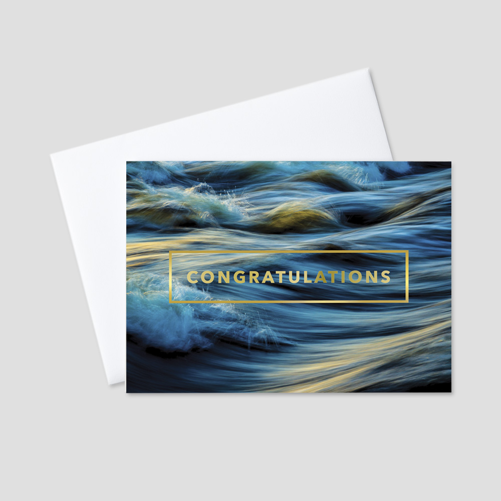 Professional Congratulations greeting card with a dark blue and golden ocean with crashing waves and a golden congratulations message and matching golden border