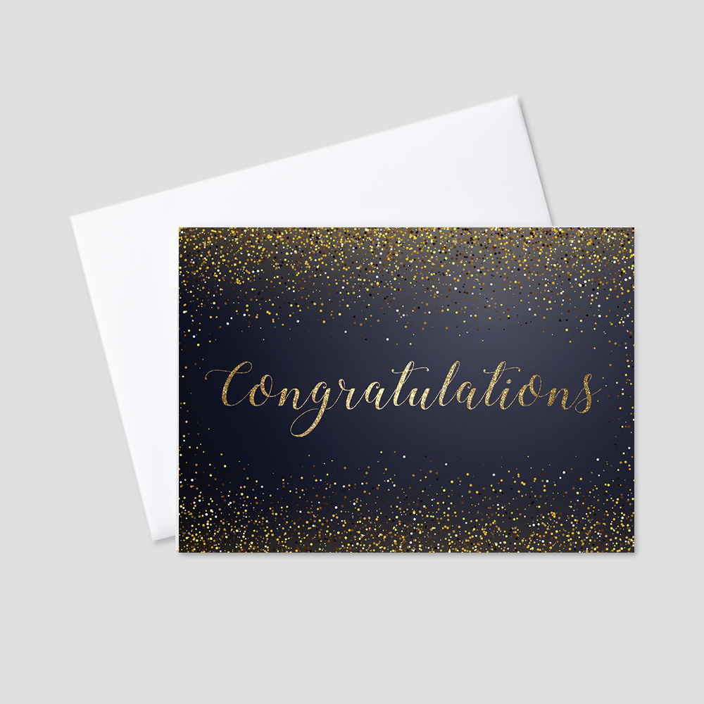Company Congratulations greeting card with a black background and golden congratulations message written in script and surrounded by festive, golden confetti