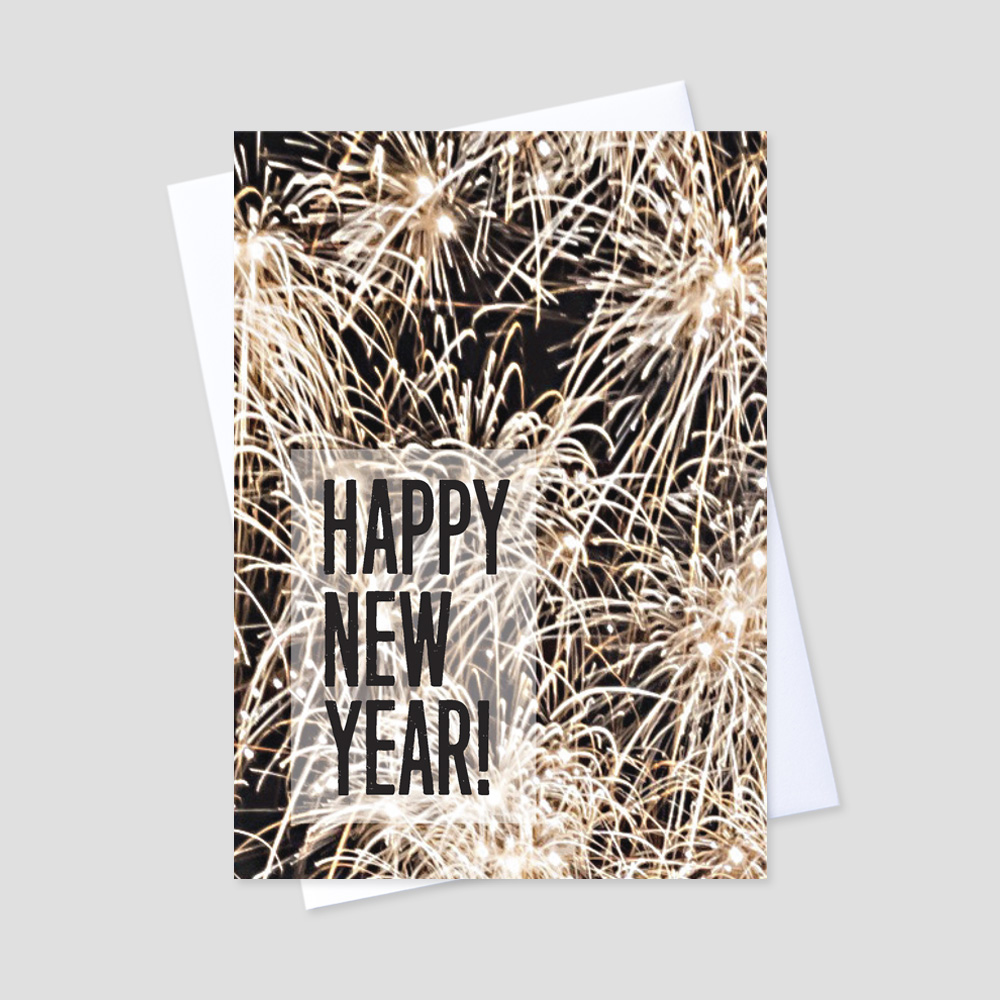Business New Year greeting card featuring bursting fireworks against a night sky with Happy New Year in bold black font