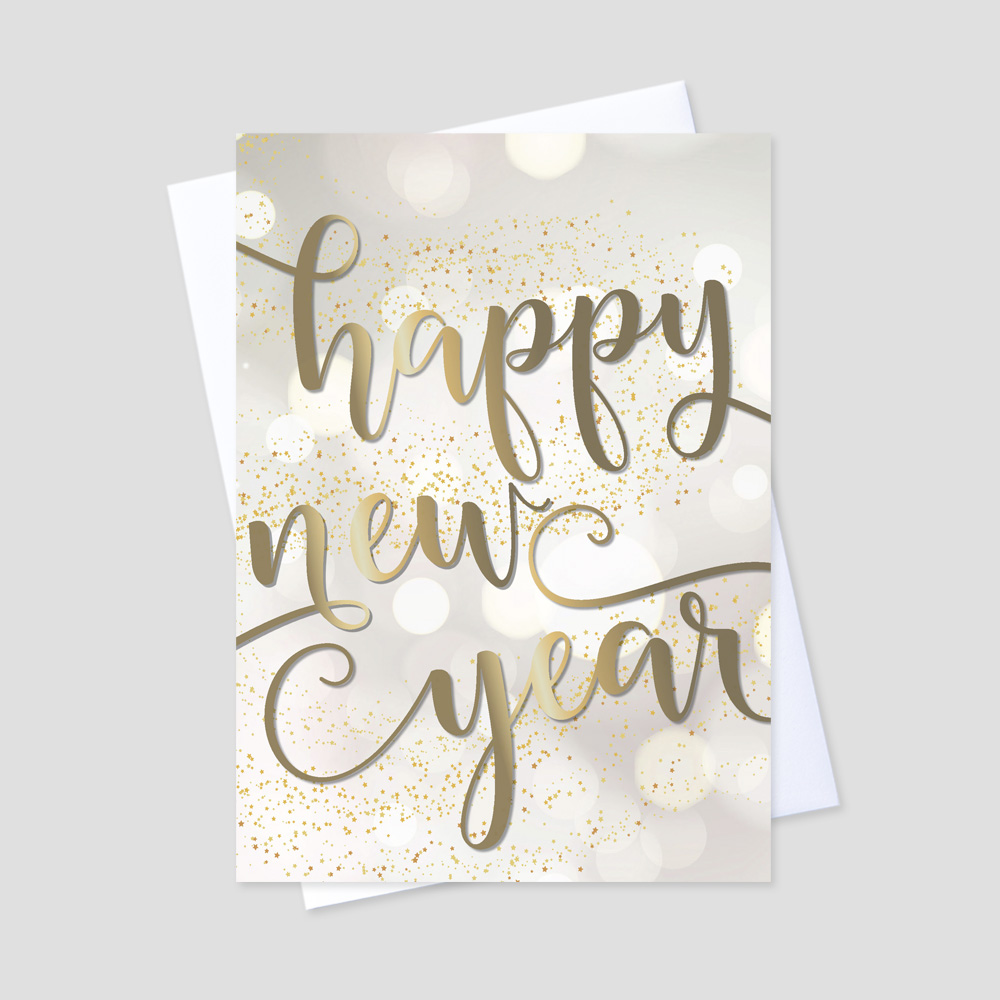 Happy New Year greeting card on a golden background and a new year message surrounded by golden bubbles and specks of swirling golden confetti