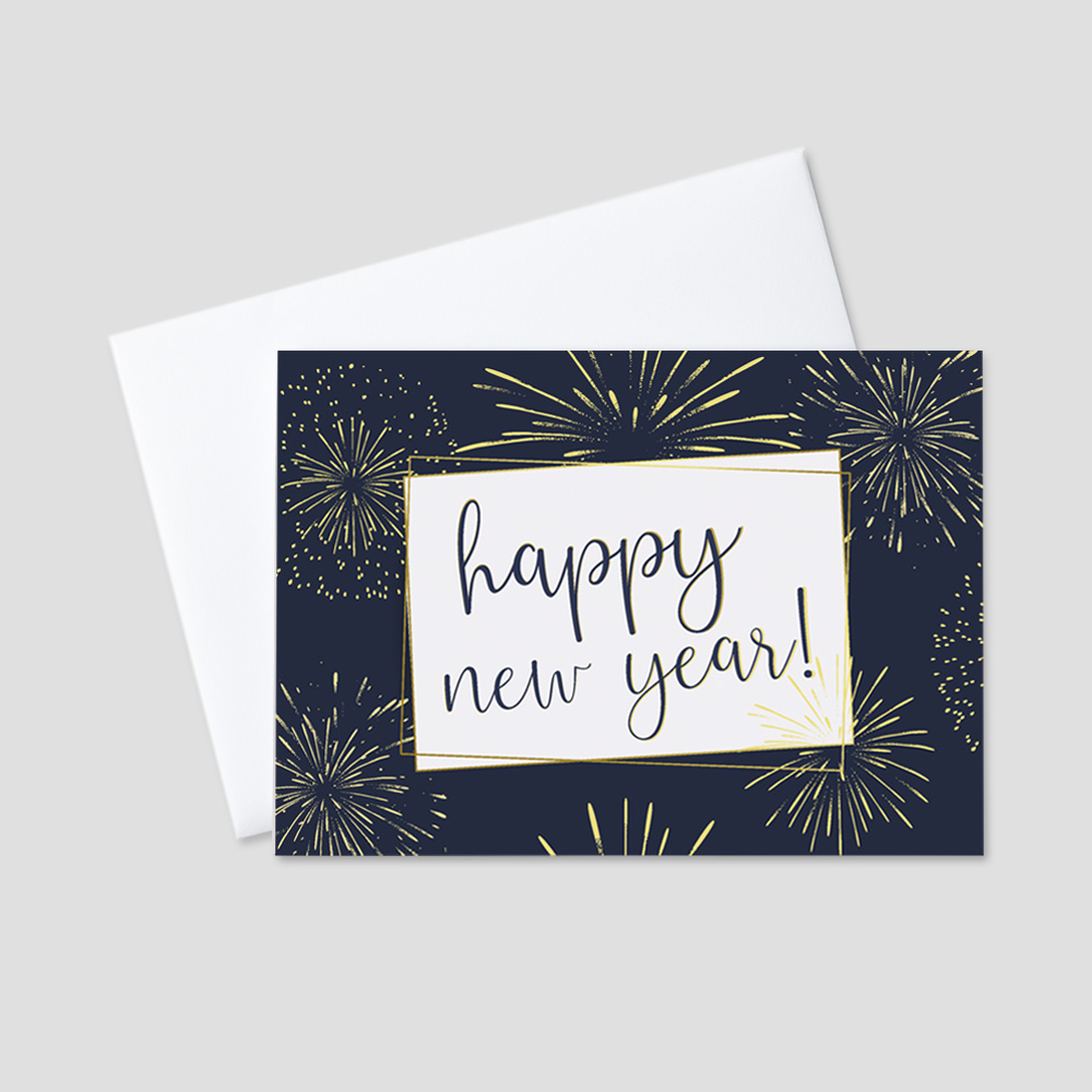Company New Year greeting card featuring a rich navy blue background and a festive script happy new year message surrounded by festive gold fireworks