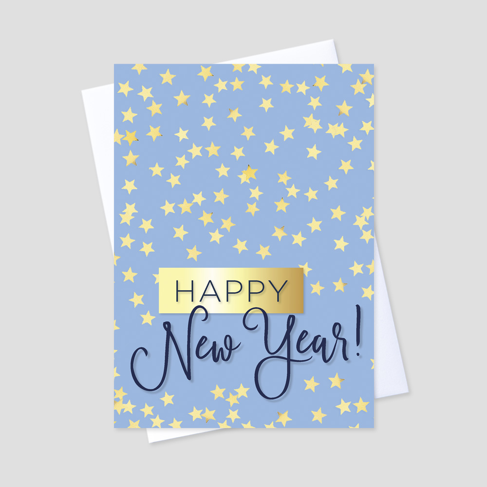 Business New Year greeting card featuring a light blue background with golden falling stars and a festive happy new year message in navy blue and gold