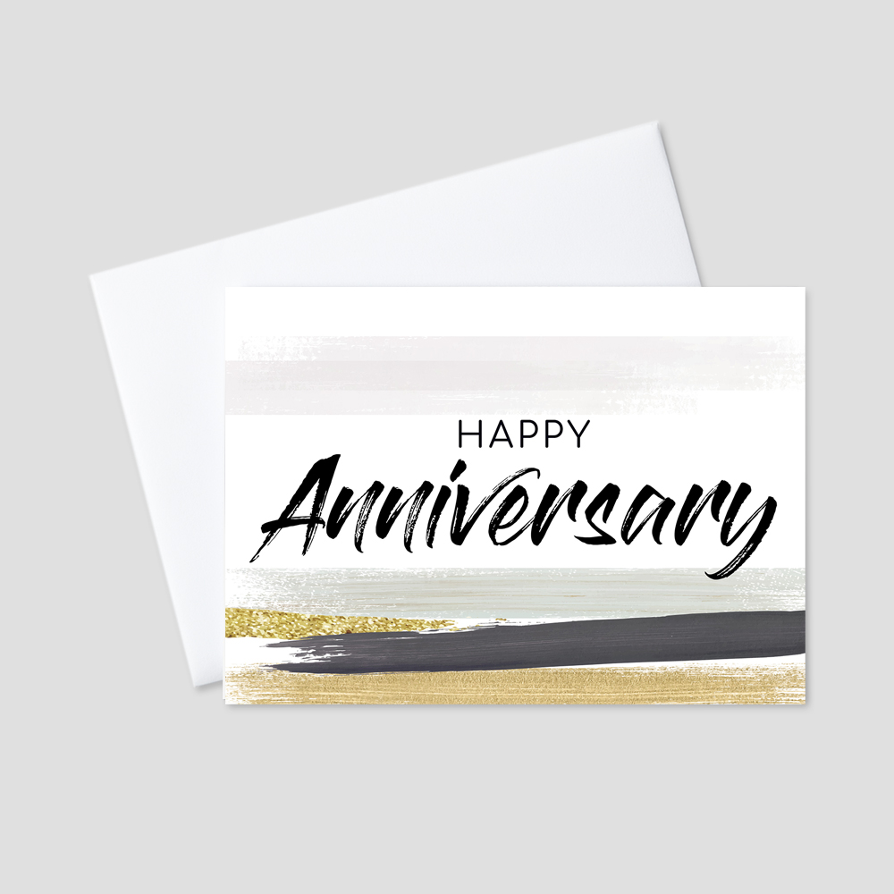 Professional Anniversary Greeting Card featuring a professional brush stroke paint design with colors of gray, green, black, and gold, surrounding a Happy Anniversary message.