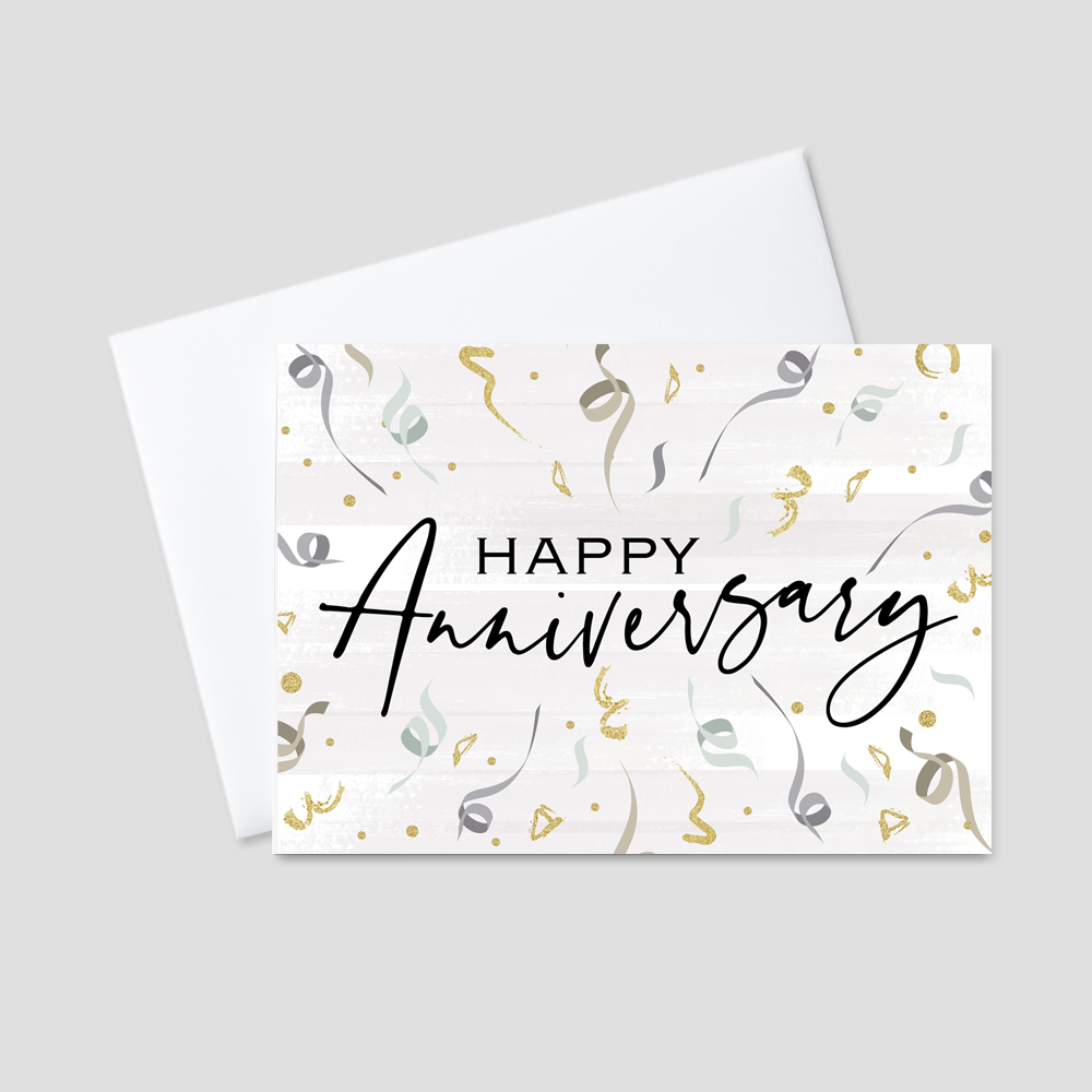 Business Anniversary Greeting Card featuring swirl designs of confetti in shades of green, gray, gold, and black, surrounding a scripted Happy Anniversary message and gray brush stroke background.