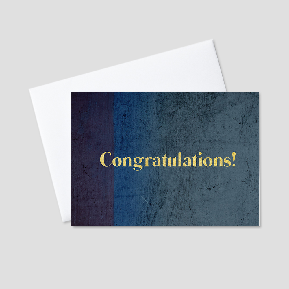 Business Congratulations Greeting Card featuring a background of weathered shades of dark blue in vertical stripes of pattern behind a golden colored bubbly Congratulations message